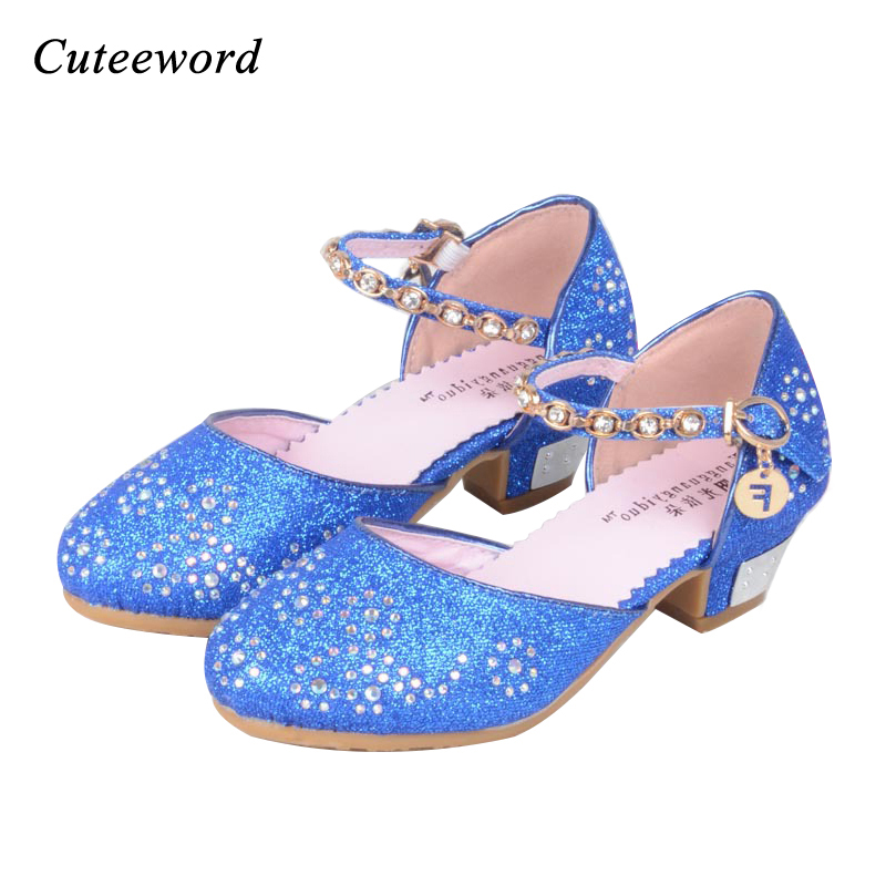 96640d5a8807 Children s shoes kids girls Princess Sandals girl Wedding Shoes High Heels Dress  Party Shoes For Girls Leather Pink Blue Sandals