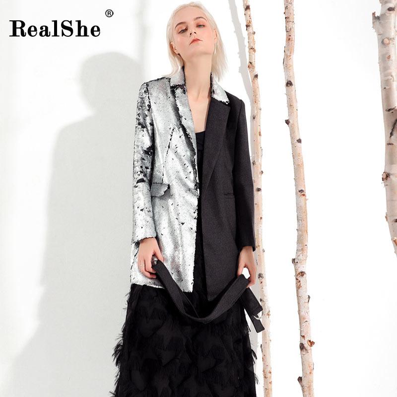 Dame À Patchwork Manteau Ceintures Femmes 2019 Costume Dames Realshe Manches Revers Blazer Bureau Printemps D'affaires Longues TZwSFxcqOI