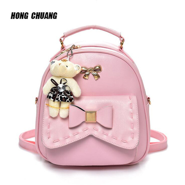 35f1d4a05 Fashion Backpack Women Bag College Bags For Girls Backpacks For Women 2018  Bear Korea Pendant Shoulder Bags Sac A Dos