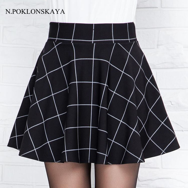 Plaid Mini Skirt for Women Pleated Skirts 2018 Spring Summer Tutu Skirt Black Vintage Womens Clothing Faldas mujer jupe femme