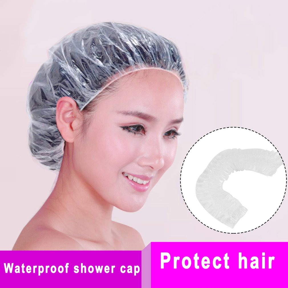 20pcs Disposable Clear Spa Hats One-Off Elastic Shower Bathing Cap Waterproof Show Hats For Hair Salon Home