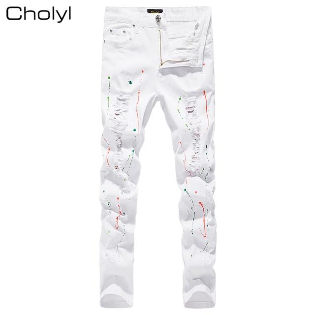 Visualizzza di più. 2017 uomo cholyl jeans uomo con fori super skinny hip  hop marca slim fit jeans distrutti 114ac093ceac