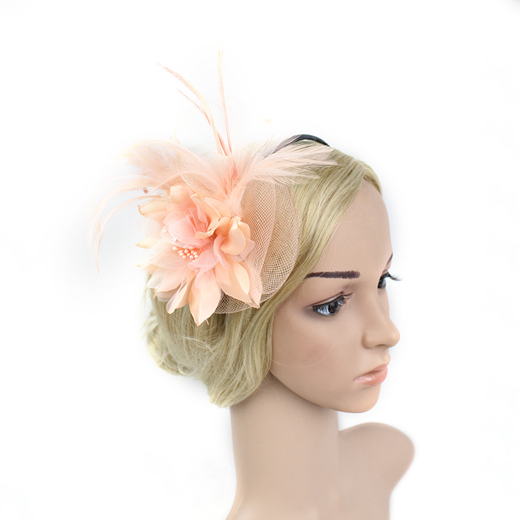 The New Boutique Flower Small Hat Hairbands Hoop Bride Wedding Party Hair Feather Headdress Performance Fascinator