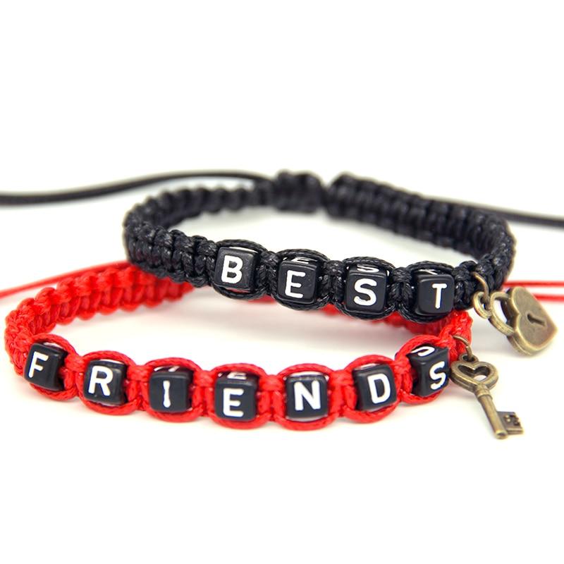a843f38db5b8 2 pulseras de pareja unids par mejores amigos con llaveros cadenas de  cuerda amantes regalo personalizado hecho a mano encanto pulsera Accesorios  en ...