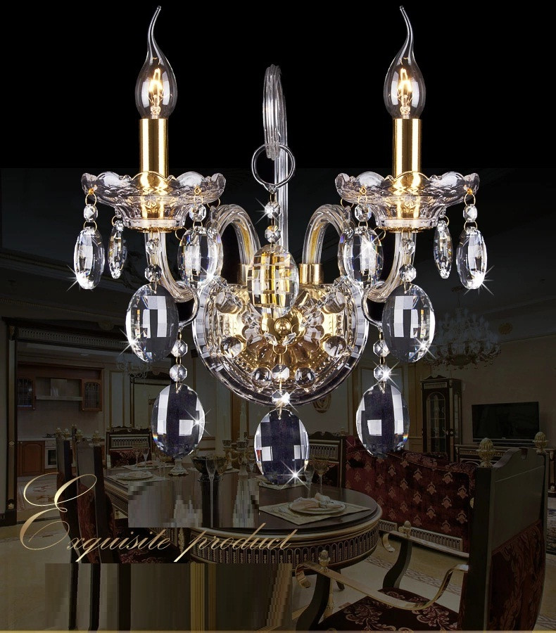Fashion crystal wall lamp K9 cyrstal wall lights sconce wall live room bedside lamp candle double head wall lamp Luxury free shipping double head candle lamp sitting room dining room lamp bedroom bedside k9 crystal lamp