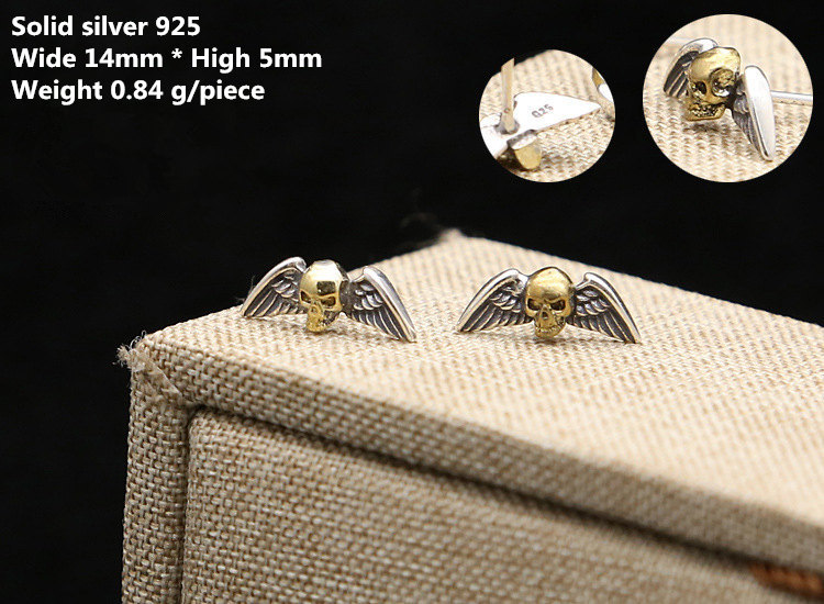Solid Silver 925 Punk Skull Wing Stud Earring Men Women Gothic Punk Style 100% Real 925 Sterling Silver Cool PersonalityJewelry