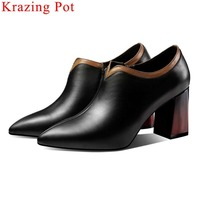 2019 British style mixed color block high heels zipper oxford pointed toe genuine leather pumps office lady dress suit shoe L7f5