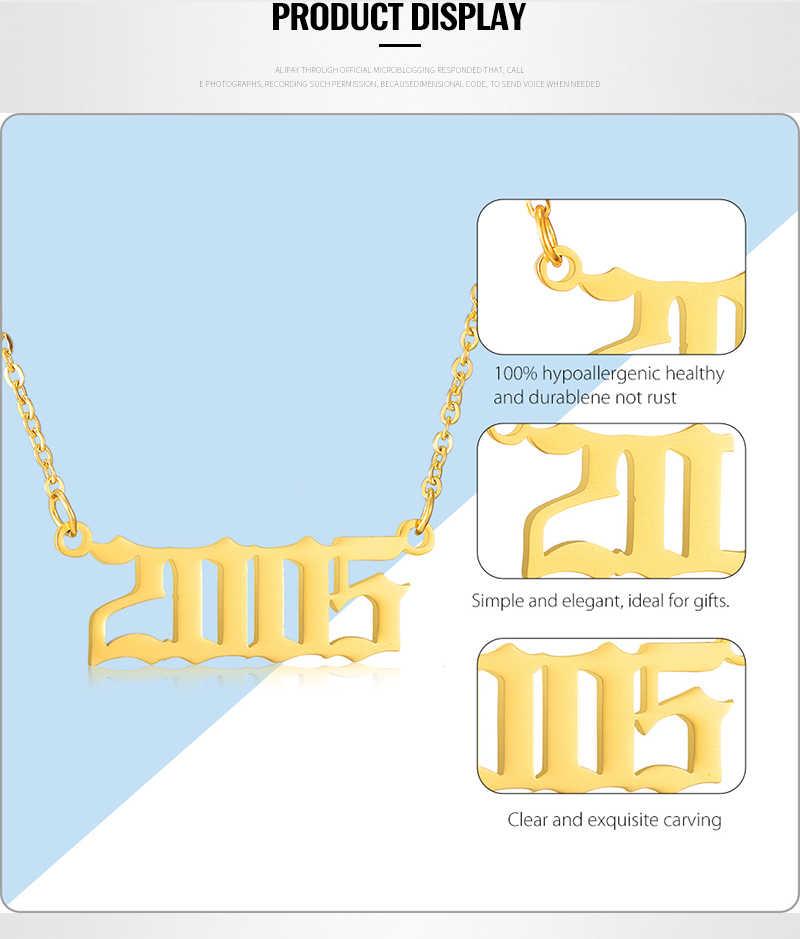 Rok naszyjnik łańcuchy ze stali nierdzewnej dla kobiet biżuteria spersonalizowane specjalne data prezent urodzinowy 1991 1992 kobiet dainty wisiorek