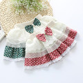 2016 Autumn Winter Fantasia Tutus Children Baby Mesh Saia Tutu Girl Skirt Cake Girls Skirts Cute Bow Lace Dot Print Skirt JW0426