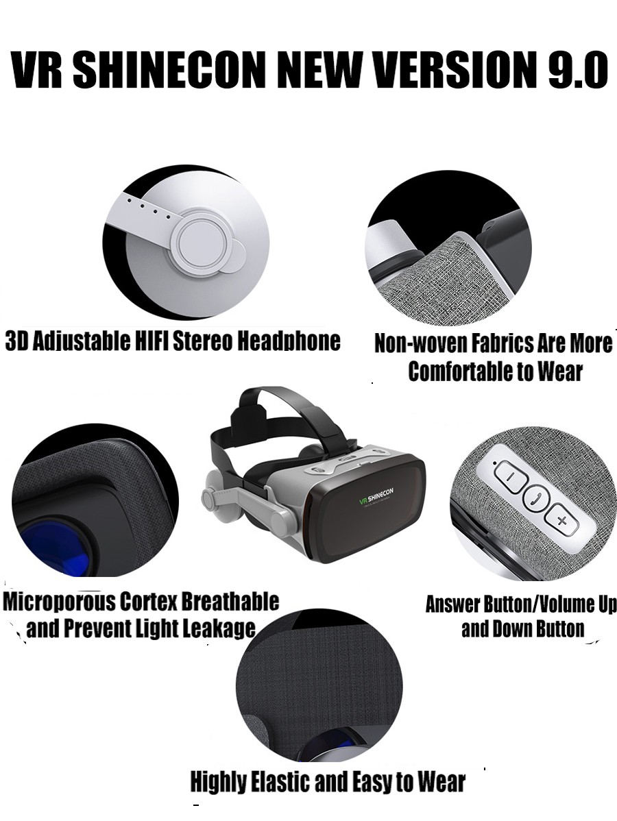 hot!2019 Shinecon Casque 9.0 VR Virtual Reality Goggles 3D Glasses Google Cardboard VR Headset Box for 4.0-6.3 inch  Smartphone