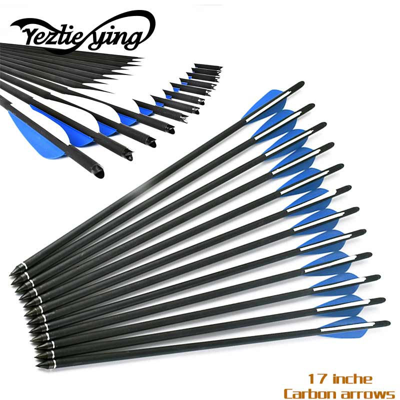 24pcs Target Arrows Crossbow Bolt 16 Inches Crossbow Carbon Arrow with 125 Grain Crossbow Arrow Broadheads 4 (2 blue 1white)