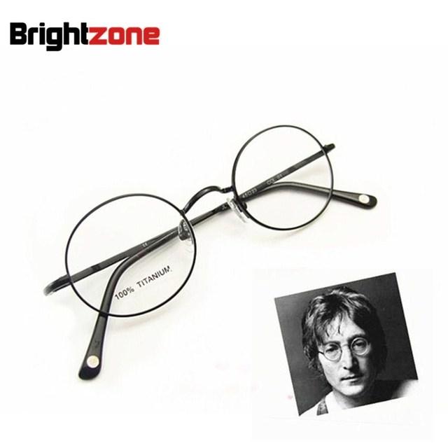 Frete grátis do vintage john lennon rodada dobradiça de mola pura titanium armação completa óculos olho óculos de armação oculos de grau femininos