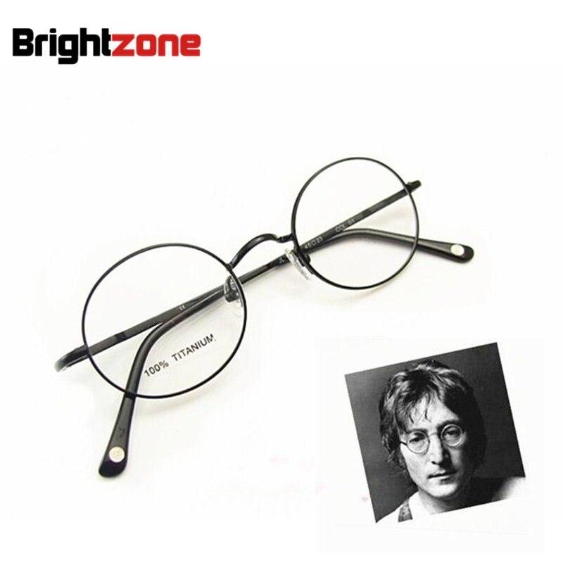 Livraison Gratuite Vintage Monture Complète John Lennon Ronde Printemps Charnière Lunettes En Titane Pur Lunettes Cadre Oculos de grau Femininos