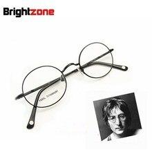무료 배송 Vintage Fullrim John Lennon 라운드 스프링 힌지 순수 티타늄 안경 안경테 Oculos De Grau Femininos
