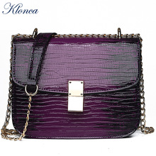 Klonca PU leather bags for women 2019 new solid Serpentine shoulder fashion woman crossbody bag