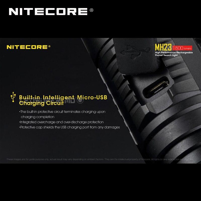Luz de búsqueda de bolsillo Nitecore MH23 CREE XHP35 HD LED Micro USB recargable linterna de 1800 lúmenes - 5