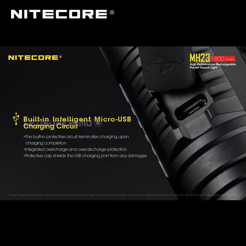 Pocket Search Light Nitecore MH23 CREE XHP35 HD LED Micro USB Rechargeable 1800 Lumens Flashlight - 5