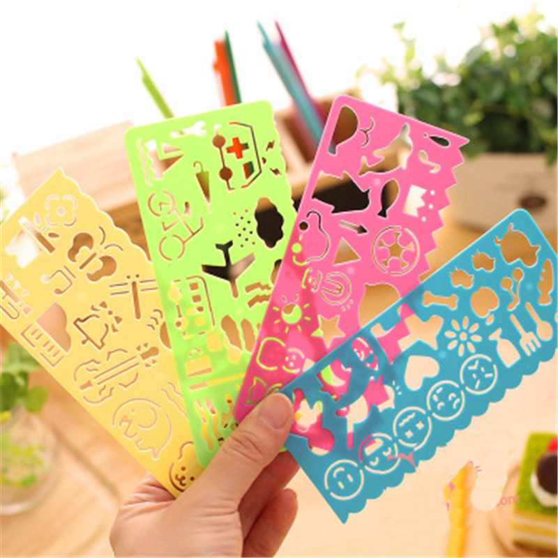 4pcs Creative Stationery  Stencil Ruler Cute Drawing Drafting Tool  DIY Draw Education For Children School Painting Supplies Toy