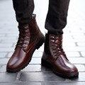 Осень Мужчины Сапоги Мужчины Искусственная Кожа Сапоги Ботинки Черные Ботильоны Для Мужчин Квартиры Обувь Botas Хомбре Chaussure Homme