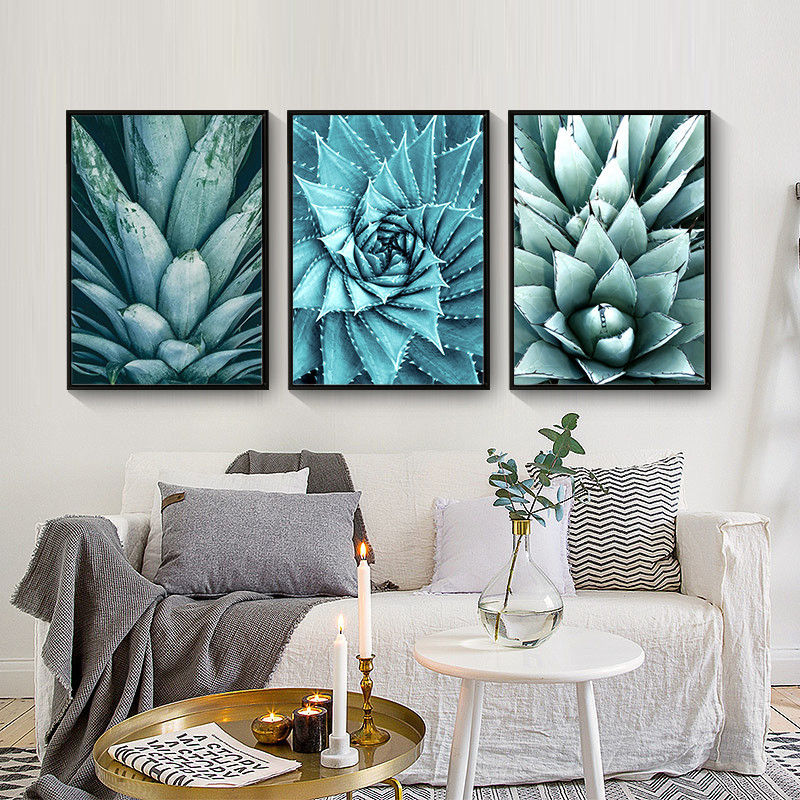 Diy Modern Room Decor: Cactus Flower Nordic Canvas Painting Wall Art Home Decor