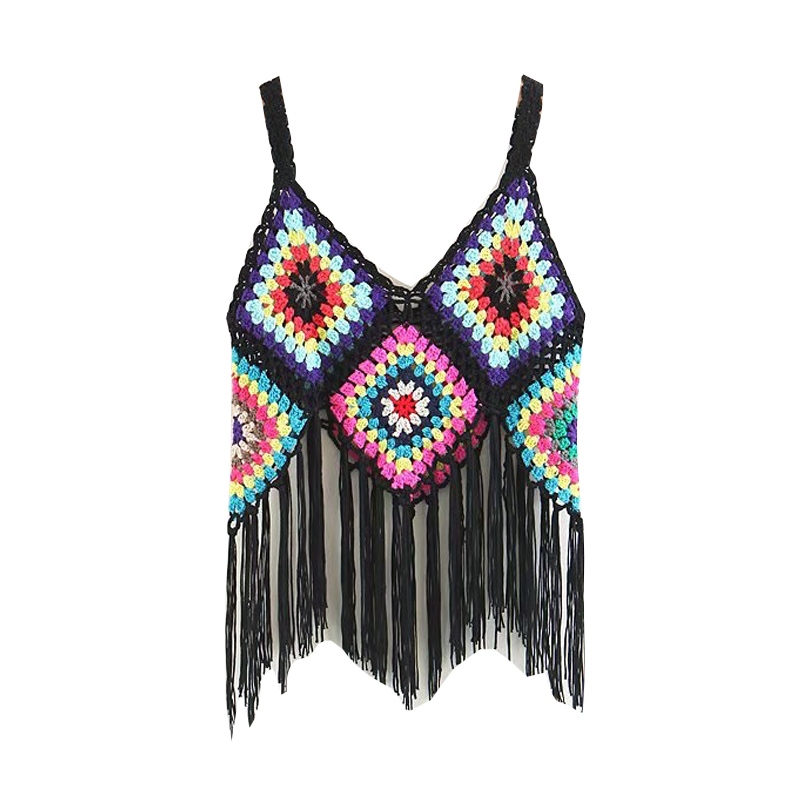 Tank-Top Crochet Knitted Colorful Casual Hollow-Out Women Bohemian Tassel with Handmade