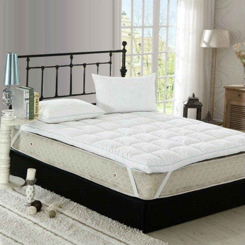 Peter Khanun Top Quality White Duck Feather Filler Bed Mattress 100 Cotton 233tc Single Layer Blue Satin Edging 027