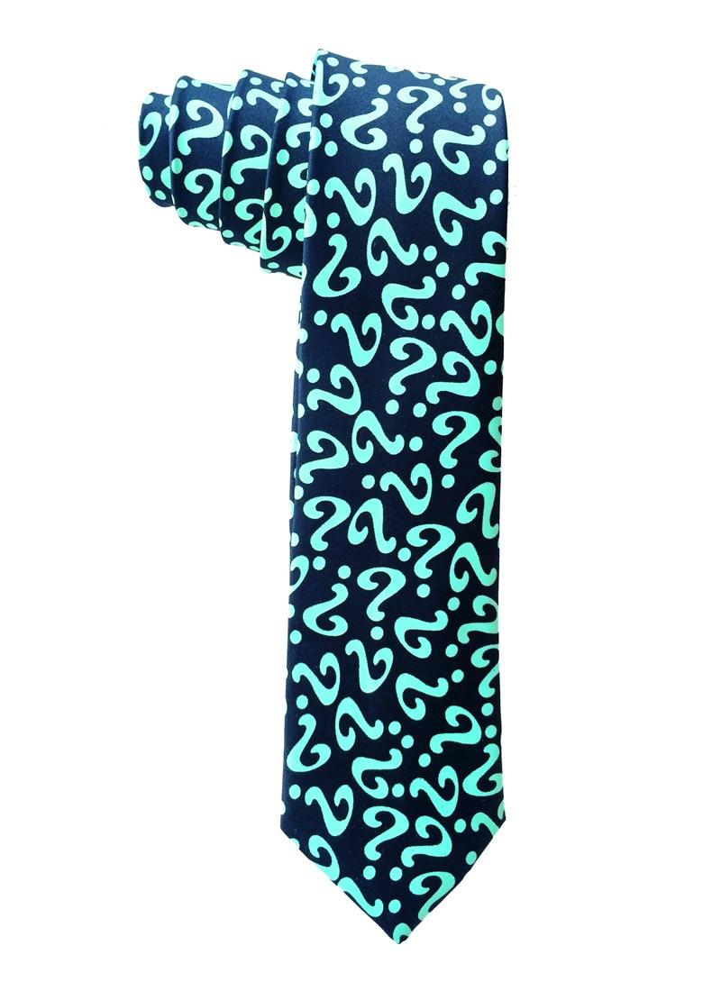 Question Mark Pattern Green Ties For Men Gravata Slim 2019 New Fashion Designer Necktie Skinny Man Polyester Narrow Tie Retail