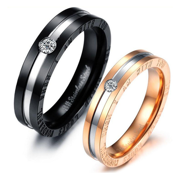 34c3865dac Romantic Lovers's Rings Micro Inlaid CZ Crystal Black & Rose Gold-Color  Stainless Steel For