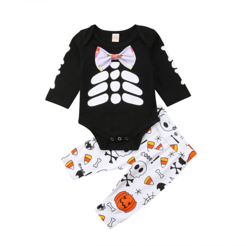 f2075adebe7b Newborn Baby Kids Boys Girl Halloween gentleman Romper Jumpsuit Tops +  skeleton Long Pants Outfits