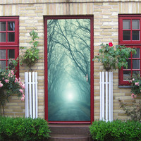 WHISM Creative 3D Landscape Door Wall Stickers Ocean Waterfall Forest Mural Waterproof PVC Poster Bedroom Home