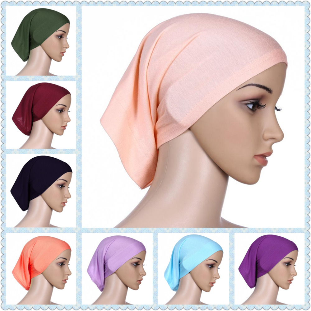 Muslim head cap Inner Hijabs for women square hijabs ladies headscarf islamic scarf hat shimmer femee cheap wholesale women new elastic cap turban muslim ruffle cancer chemo hat beanie scarf turban head wrap cap ladies india take photo headscarf
