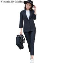 2017 Fashion Autumn Women New Formal Pantsuits Women Work Wear Suits Blazer Sets Fashion Black stripe Office lady Uniform