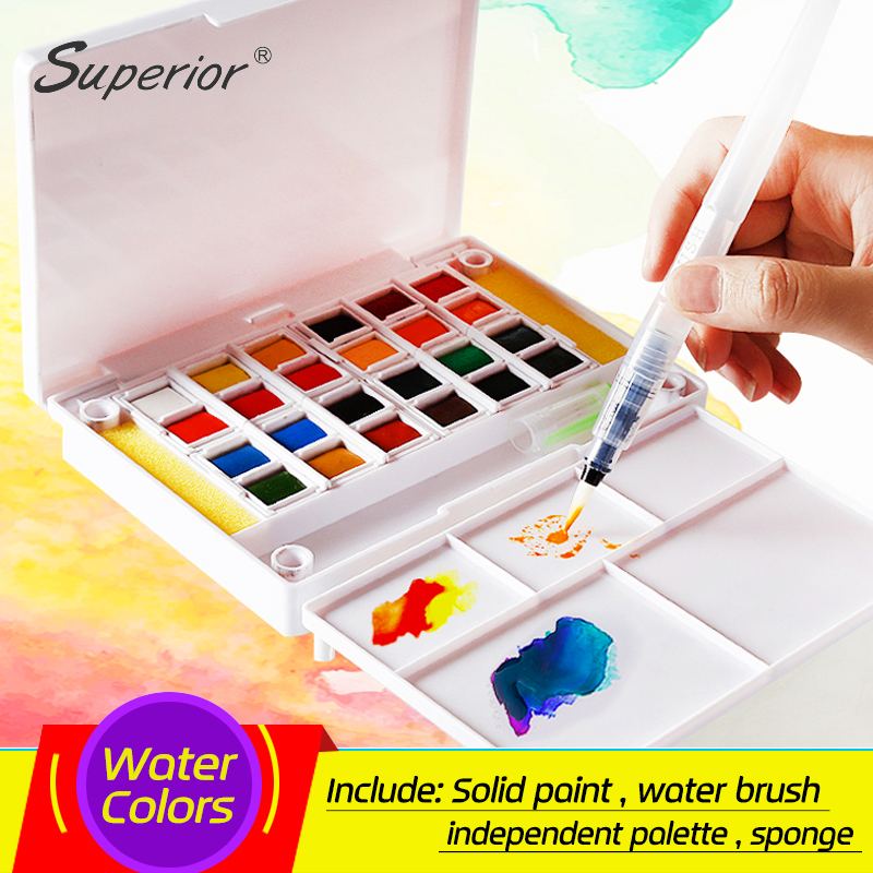 Superior 12 24 30 36 40Colors Pigment Solid Watercolor Paints Set Colored Pencils For Drawing Paint Watercolors Art Supplies