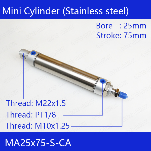 MA25X75-S-CA, Free shipping Pneumatic Stainless Air Cylinder 25MM Bore 75MM Stroke , 25*75 Double Action Mini Round Cylinders mal50 25 s ca mal50 50 s ca mal50 75 s ca mal50 100 s ca airtac aluminum alloy mini cylinder mal series