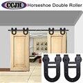 6ft / 8ft / 10ft / 12ft / 13ft / 15ft / 16ft  Double Door Sliding Barn Door Rustic Black Sliding Kit Hardware