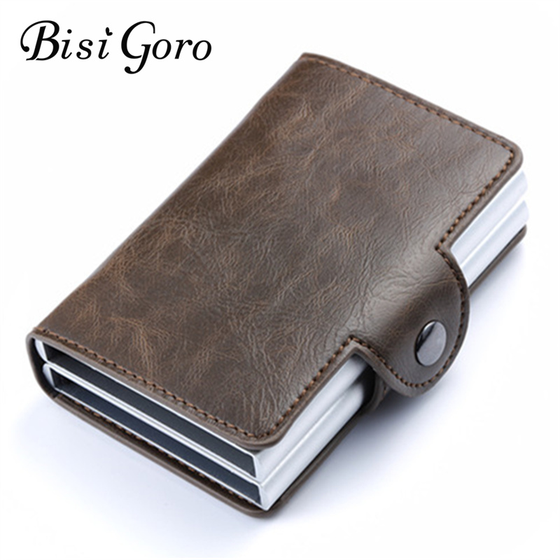 Bisi Goro 2019 New RFID Business Credit Card Holder Metal Blocking Double Aluminium Box Crazy Horse Leather Travel Card Wallet