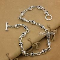 925 серебро ручной работы черепа мужские Обувь для мальчиков Байкер в стиле панк рок Цепочки и ожерелья 9n022n
