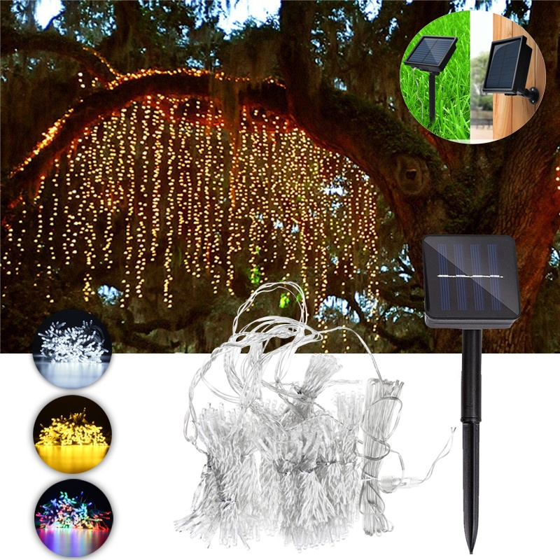 HENYNET 300LED Solar Powered Fairy String LED Light,Outdoor Waterproof Curtain Light Night Lamp for Garden Christmas Party snowscape print christmas waterproof shower curtain