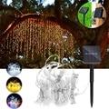 LED Solar String Lichter Outdoor Solar Powered 300LED Wasserdichte Vorhang Licht Nacht Lampe Garten Weihnachten Party Solar Licht-in Lichterketten aus Licht & Beleuchtung bei