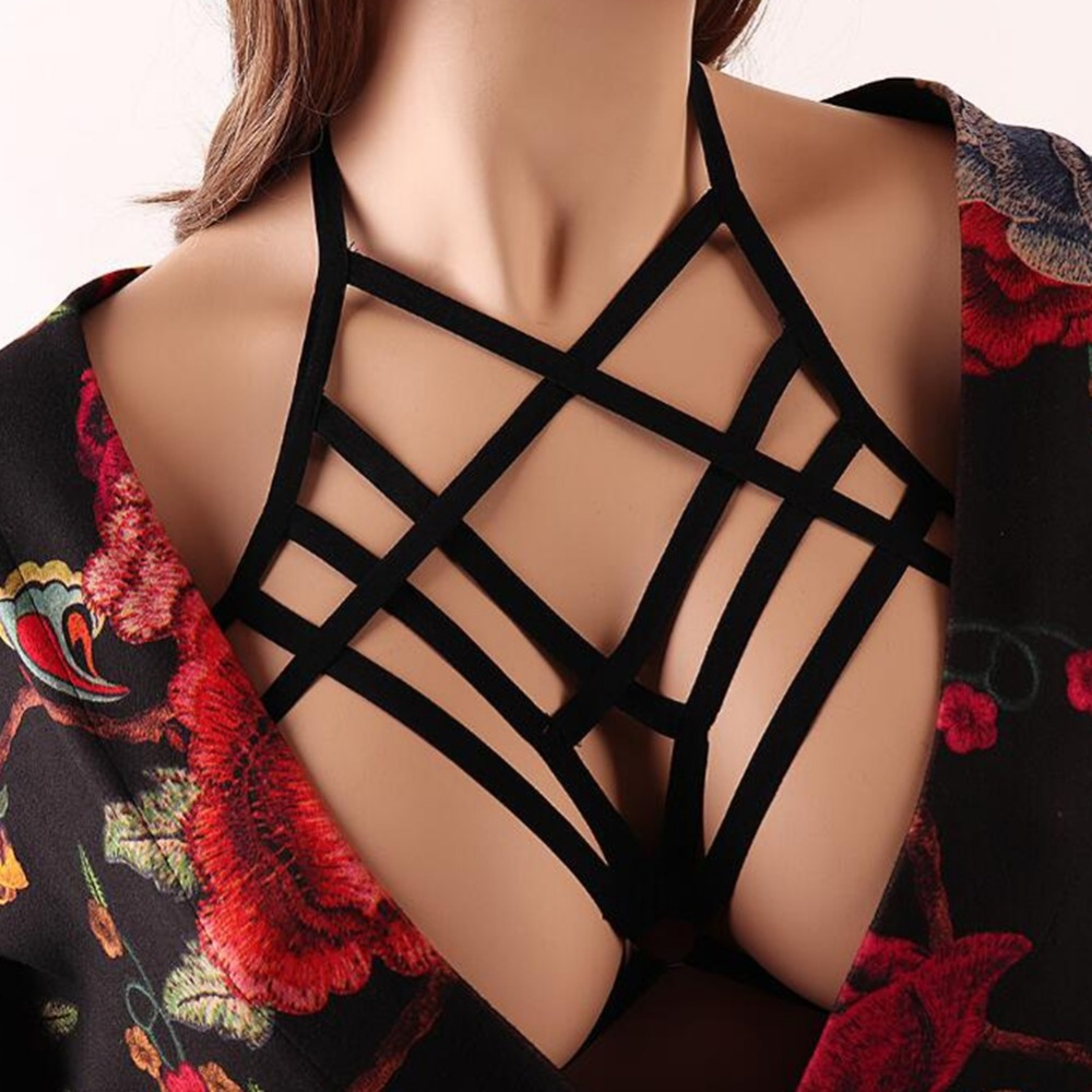 2 Styles Black Strappy Elastic Bra Chain Bikini For Women Body Decorations New Sexy Summer Vacasion Jewery