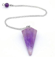 FYJS Unique Silver Plated Chain Pendulum Hexagon Pyramid Pendant Natural Amethysts Stone Jewelry 100 unique 1 pcs silver plated amethysts hexagonal pyramid stone pendant link chain necklace black agates jewelry