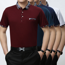 Hohe qualität sommer männer business casual einfarbigen seide baumwolle umlegekragen t-shirt