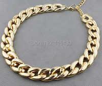 Cor do ouro do vintage chunky corrente colar para as mulheres longo chian ccb colar de colar de plástico feminino 2017 nova moda jóias