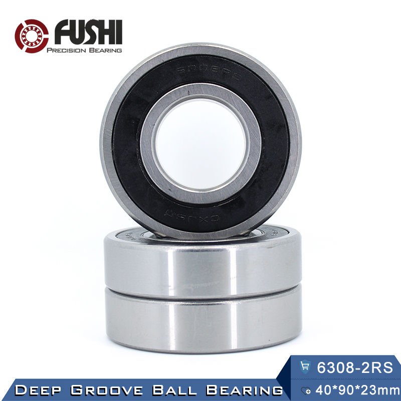6308RS Bearing ABEC-3 (1 PCS) 40*90*23 mm Deep Groove 6308-2RS Ball Bearings 6308RZ 180308 RZ RS 6308 2RS EMQ Quality 6312rs bearing abec 3 1 pcs 60 130 31 mm deep groove 6312 2rs ball bearings 6312rz 180312 rz rs 6312 2rs emq quality