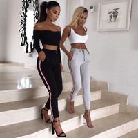 Skinny Fit Striped Track Pants Womens Grey Casual Tracksuit Pants Ladies Elastic High Waist Slim Trousers