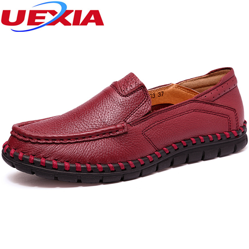 New Fashion Women Shoes Cow Leather Flats Loafers Casual Black Soft Bottom Boat Driving Handmade Women Shoes Footwear Moccasins