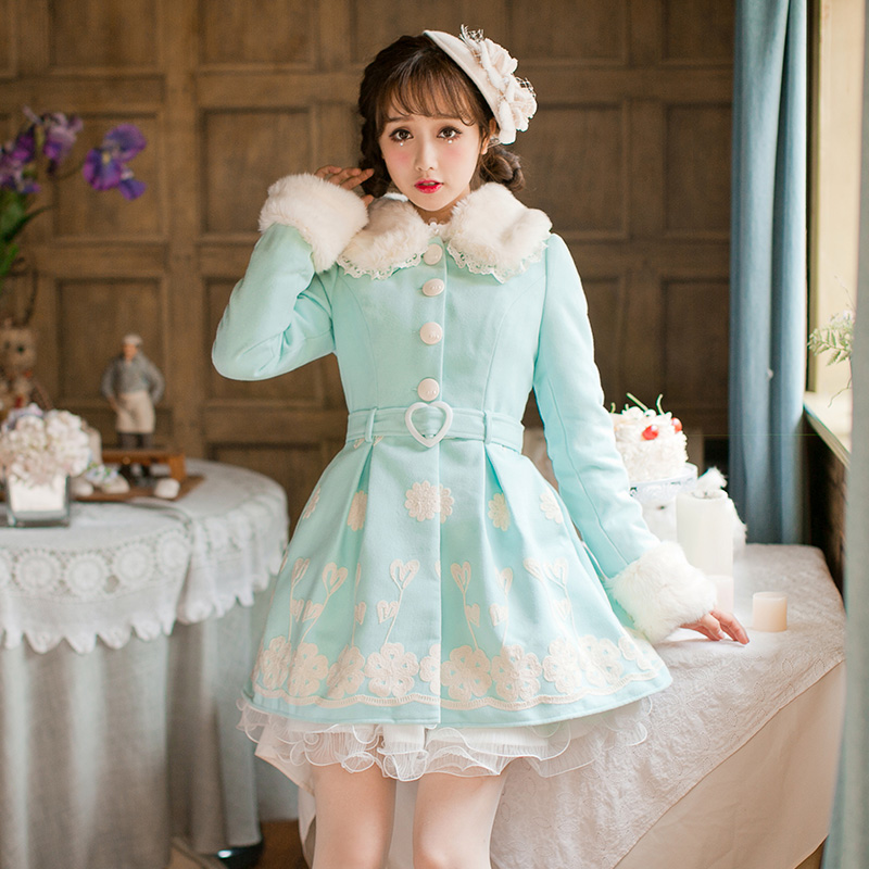 Princess sweet blue woolen coat Candy rain priting belt Bandage Lace decoration Single breasted Sweet Japanese design C16CD6184