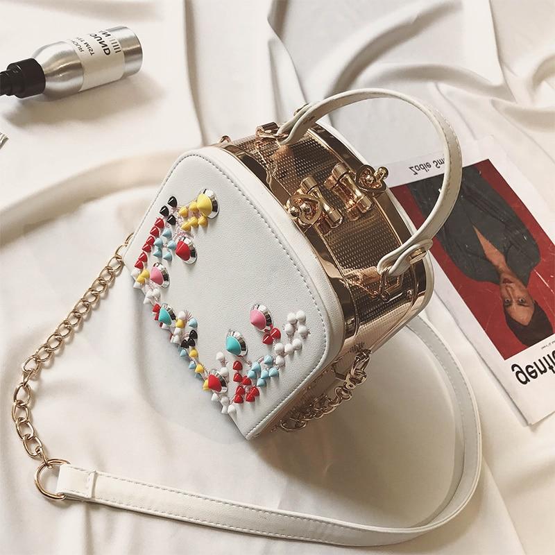 Hot Sale Punk Wind Rivets Small Bag White Handbag Women Summer Mini Bag Chain Colourful Rivet Cool Messenger Bags Shoulder totes автомобильная ключница cool wind gs4 gs5 ga3s ga6