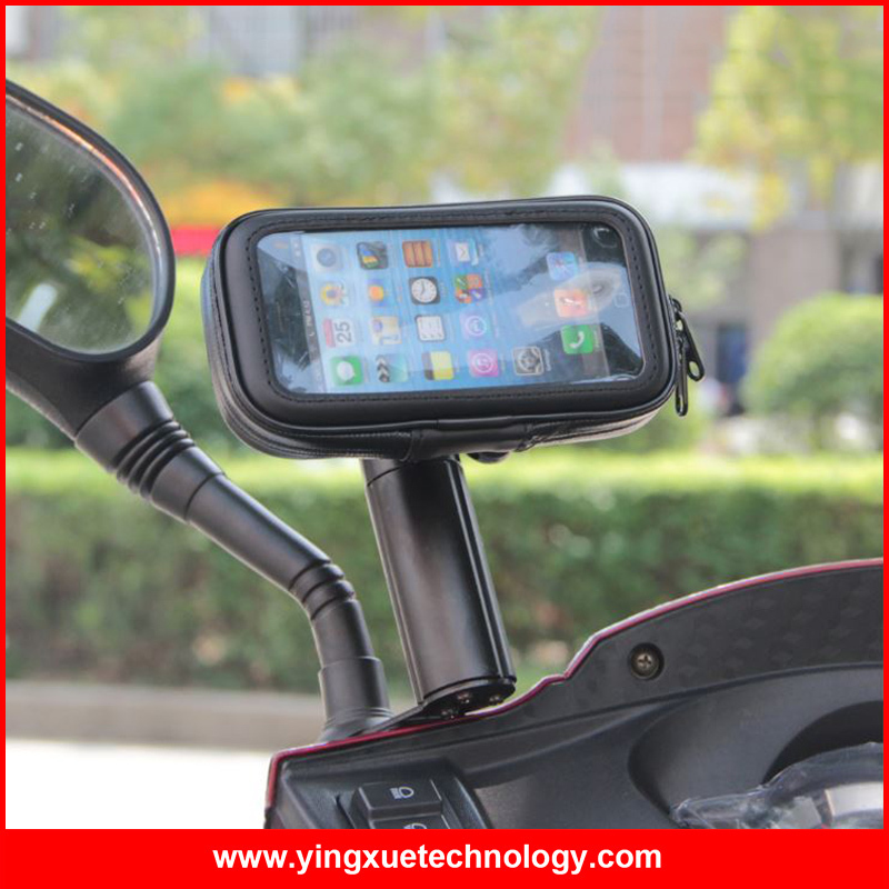 Fully Adjustable Scooter Motorcycle Mirror Mount Holder Water Resistance Case for Mobile Phones