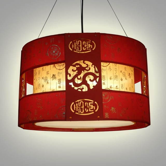 chinese style wooden pendant light classical dining hotel room